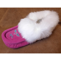 Laurentian Chief Fuchsia Fur Trimmed Slippers