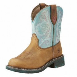 Ariat Ladies Fatbaby Brown Shimmer Turquoise Western Boot