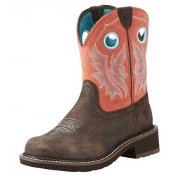 Ariat Ladies Fatbaby Heritage Cowgirl Chocolate Coral Boot