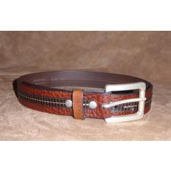 Vintage Bison Men's Leather Belt Pinnacle Style Brown
