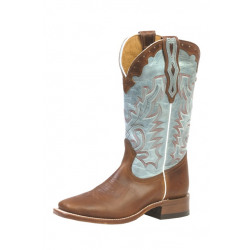 Boulet Ladies Brown Vamp Turquoise Western Boots