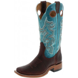 Boulet Ladies Bison Whiskey Turqueze Western Cowboy Boot