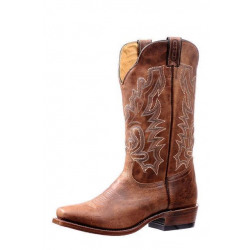 Boulet Men's Cutter Toe Bison Vintage Rust Western Boot