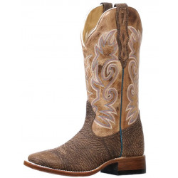 Boulet Ladies Bullhide Taupe Wide Square Toe Cowboy Boot