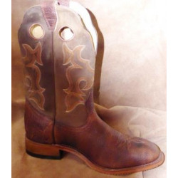 Boulet Men's Brown Virginia Mesquite Full Round Toe Cowboy Boot