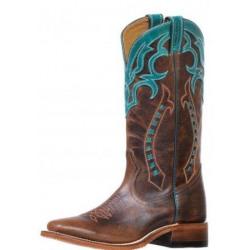 Boulet Ladies Wide Square Toe Turqueza Cowboy Boots