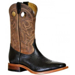 Boulet Men's Natural Black Wide Square Toe Western Boots