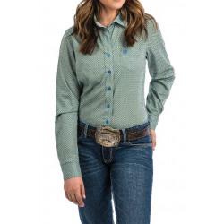 Cinch Women's Lime Blue Geo Print Western Shirt