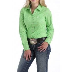 Cinch Women's Lime Diamond Print Button Down Western Shirt