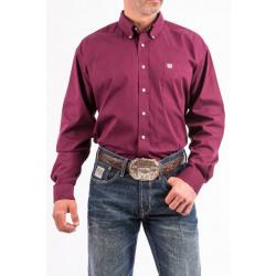 Cinch Men's Button Down Solid Burgundy Western Shirt