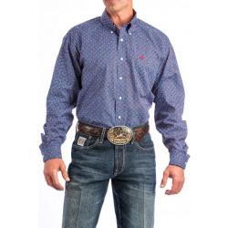 Cinch Men's Blue Red Medallion Print Western Shirt