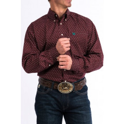 Cinch Men's Burgundy Teal Geo Print Western Shirt