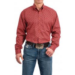 Cinch Men's Coral Burgundy Medallion Print Shirt