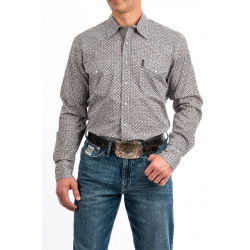 Cinch Men's Gray Black Circle Print Snap Front Shirt
