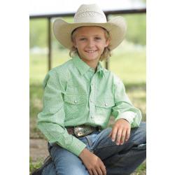Cinch Boy's Lime Pearl Snap Shirt