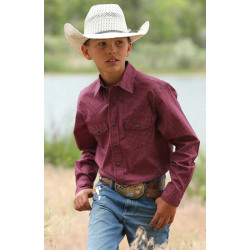 Cinch Boy's Red White Geo Print Snap Western Shirt