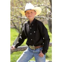 Cinch Boy's Solid Twill Black Western Shirt