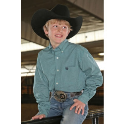 Cinch Boy's Button Down Teal Print Western Shirt