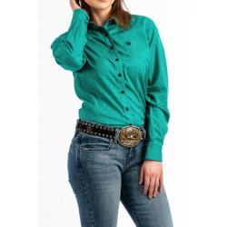 Cinch Ladies Teal Dot Print Button Up Western Shirt