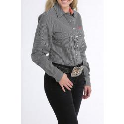 Cinch Ladies Black Strip Button Down Western Shirt