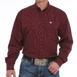 Cinch Men's Burgundy Print Button Down Western Shirt