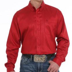 Cinch Men's Red Geo Print Button Western Shirt