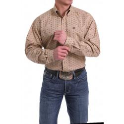 Cinch Men's Khaki Bison Print Button Western Shirt