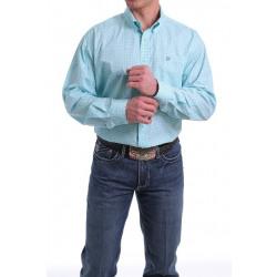 Cinch Men's Light Blue Geo Print Button Western Shirt