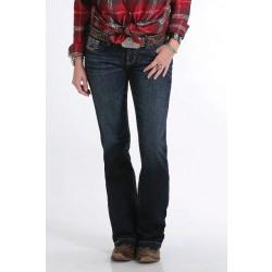 Cruel Ladies Jayley Trouser Fit Dark Stonewash Mid Rise Jean