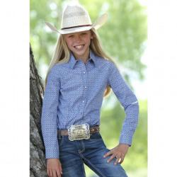 Cruel Girl's Western Shirt Navy White