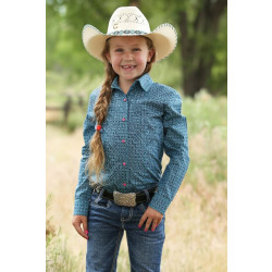 Cruel Girl Turquoise Geo Print Snap Front Western Shirt
