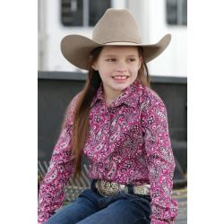 Cruel Girl's Purple Paisley Snap Western Shirt