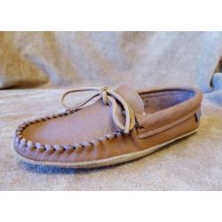 Laurentian Chief Dark Brown Moose Leather Unlined  Moccasins