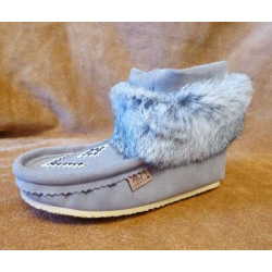 Laurentian Chief Nuka Tall Grey Suede Moccasins