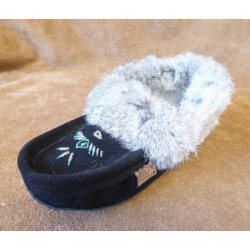 Laurentian Chief Beaded Black Suede Fur Trim Moccasins