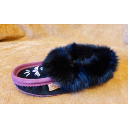 Laurentian Chief Beaded Suede Black Plum Moccasins