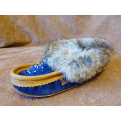 Laurentian Chief Beaded Suede Navy Brown Moccasins