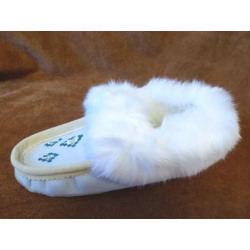 Laurentian Chief Beaded Suede Reversed Sheepskin Ice Moccasins