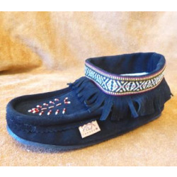 Laurentian Chief Black Rubber Sole Lined Tall Moccasins