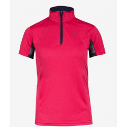 Horze Kids UV Polo Shirt Pink And Dark Blue