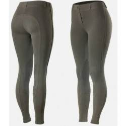Horze Ladies Ella Pull-On Knee Patch Tights Brown