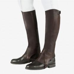 Horze Franci Soft Leather Haf Chaps Dark Brown