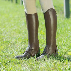 Horze Leather Half Chaps Dark Brown