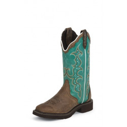 Justin Ladies Rayo Turquoise Western Boots