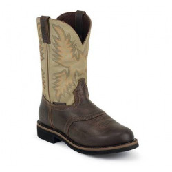 Justin Waxy Brown with Cream Wide Round Work Boot