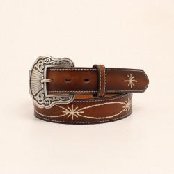 Nocona Ladies Brown Belt With Crearm Stitching