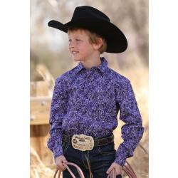 Cinch Boy's Purple Black White Paisley Western Shirt