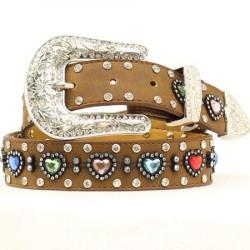 Nocona Girl's Rhinestone And Hearts Belt
