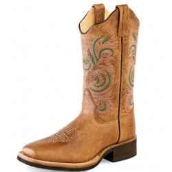 Old West Ladies Tan Green Cowboy Boots