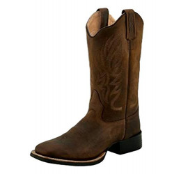 Old West Ladies Brown Leather Square Toe Cowboy Boots
